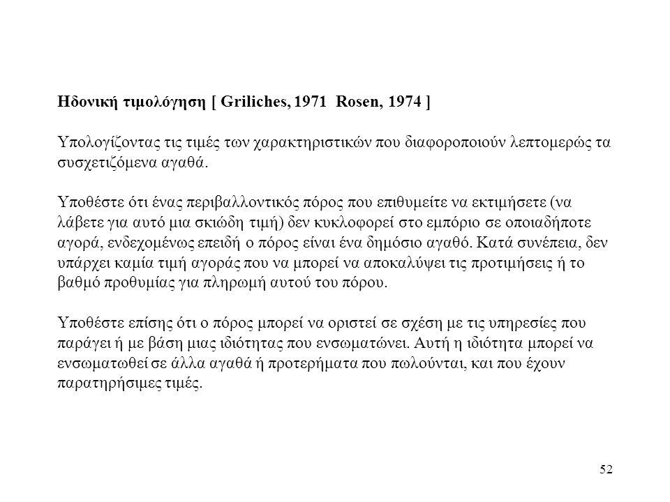 Ηδονική τιμολόγηση [ Griliches, 1971 Rosen, 1974 ]